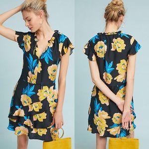 ANTHROPOLOGIE Ladew Ruffled Silk Dress by Dolan